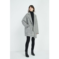 Tirelli Hounds Tooth Revere Collar Coat - Grey/White