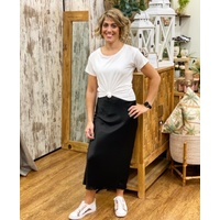 Italian Star Satin Maxi Skirt  Black - One Size