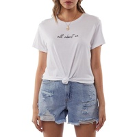 All About Eve-Script Knotted Tee-White