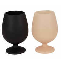 Porter Green Sustainable Foldable Wine Glass- Black/Camel